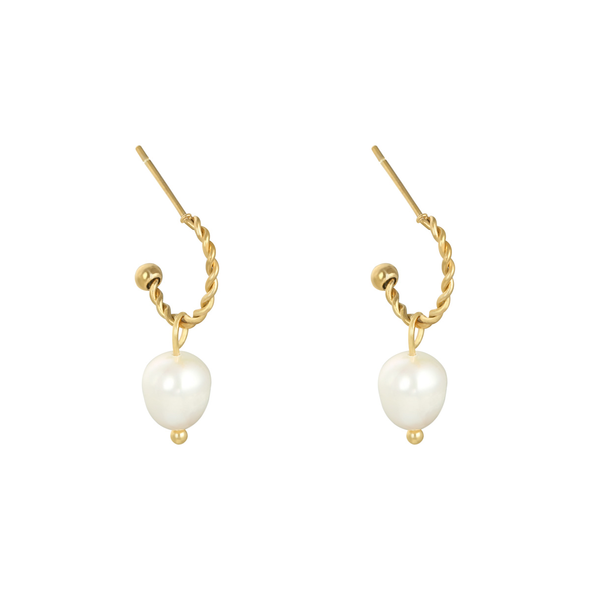 Image of   Alma Pearl Earrings - Guldfarvet